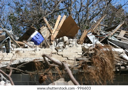 Destroyed home from Hurricane Katrina. - stock photo