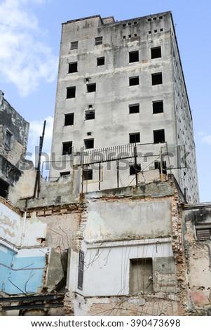 Destroyed houses at the neighborhood of Habana Vieja in Havana, Cuba - stock photo