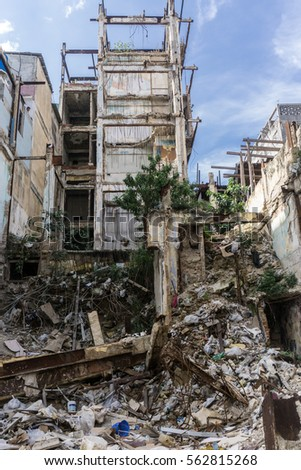 destroyed old building, on december 26, 2016, in La Havana, Cuba