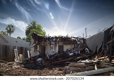 Destroyed ruined house construction debris - stock photo