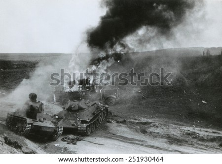 Destroyed Soviet tanks at Junourcia, during the German invasion of the USSR (Russia). Summer 1941, during World War 2. - stock photo