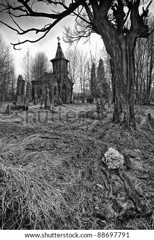 destroyed the old cemetery - the place of horror (B/W) - stock photo