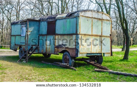 Destroyed trailer on the grass