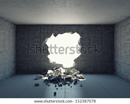 Destroyed wall of concrete structure. Concept of escape to freedom. - stock photo
