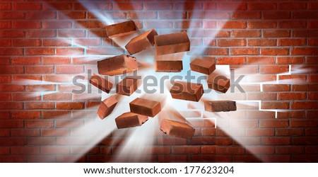 Destroying brick wall. Illustration shows how light rays smash a brick wall - stock photo