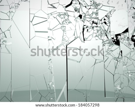 Destructed or broken glass isolated on black. Large resolution - stock photo