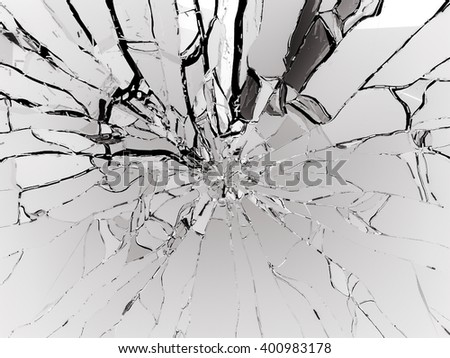 Destructed or Shattered black glass isolated over black - stock photo