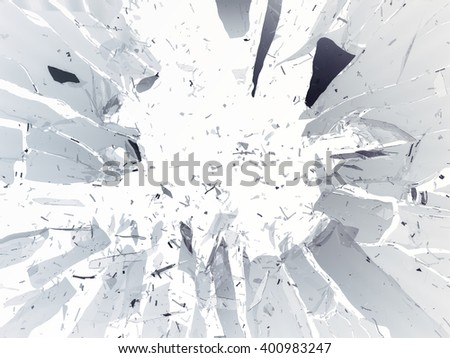 Destructed or shattered glass isolated over white background