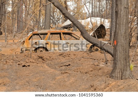 Destruction of the forest, vehicles and homes caused by the California Butte fire