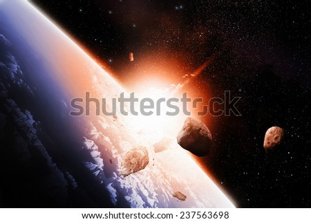 Destructive meteor impact - stock photo