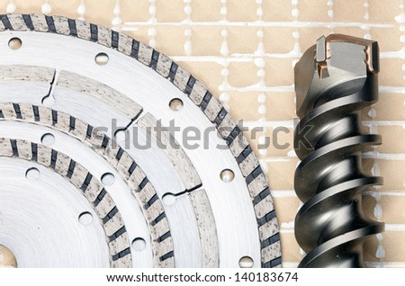 detachable disks and the drill - tools working - stock photo