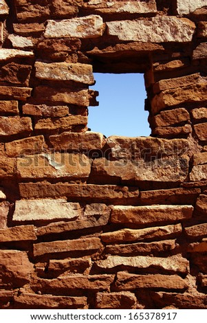 Detail, ancient stone walls,  Lomaki Pueblo, Wupatki National Monument, Arizona