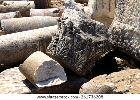 Detail broken marble column decoations from ancient Greek agora  Ephesus, Turkey