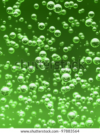 Detail bubbles in green liquid. - stock photo