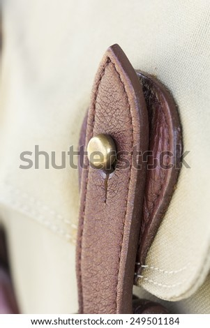 detail buckle on  leather bags - stock photo