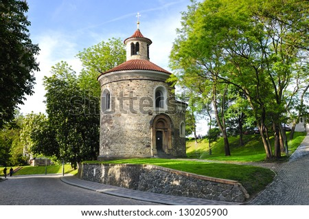 detail Church of St Peter and St Paul in Vysehrad castle in Prague, Czech republic - stock photo