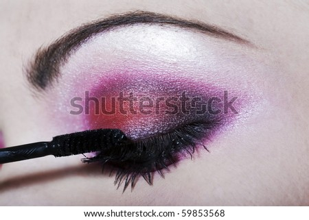 detail close-up make-up beauty eyebrow colorful