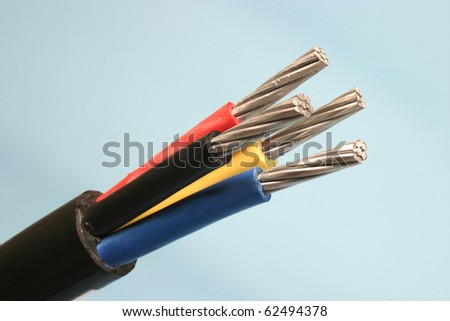 detail close up of a cable - stock photo