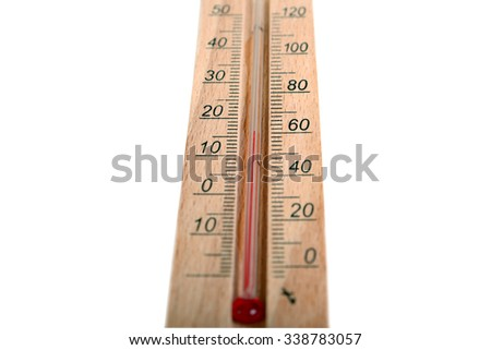 Detail close-up of a thermometer isolated on white
