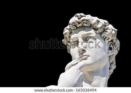 Detail close-up of Michelangelo's David statue on black background, with place for your design or text - stock photo