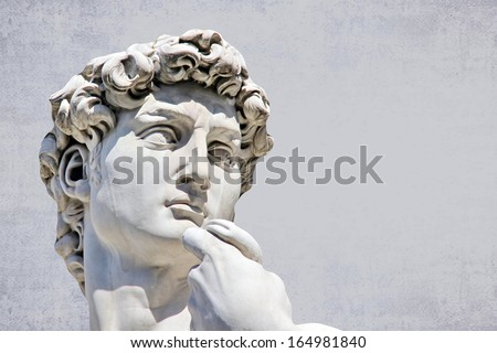 Detail close-up of Michelangelo's David statue, with place for your design or text - stock photo