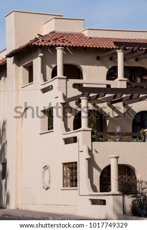 Detail Close Up Of Modern Spanish Style Architecture