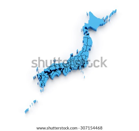 Detail 3d map of Japan with provinces in separate pieces