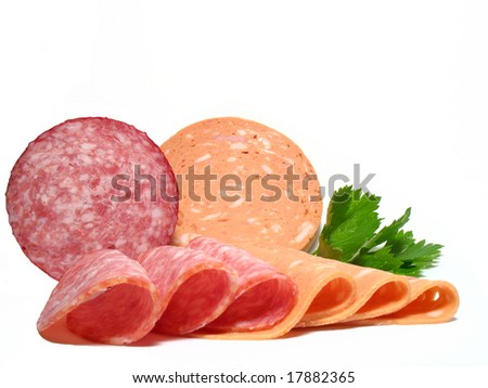 Detail fresh salamis kind - stock photo