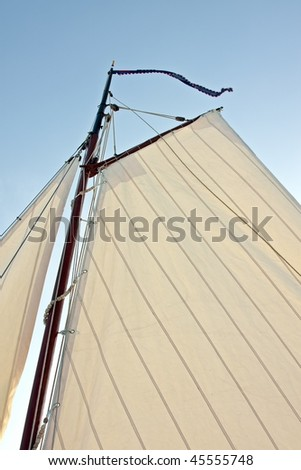 Detail from a traditional sail from an old fashioned sailingship in the Netherlands - stock photo