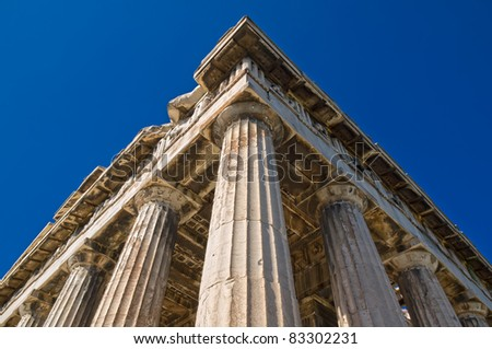 detail from the ancient temple of Hephaestus in Ancient Agora of Athens