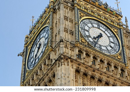 Detail from the Clock tower Big Ben, Palace of Westminster, London England UK. - stock photo
