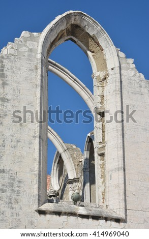 Detail from the ruined Carmo Convent, a gothic church destroyed by the great Lisbon earthquake of 1755, now a city landmark - stock photo
