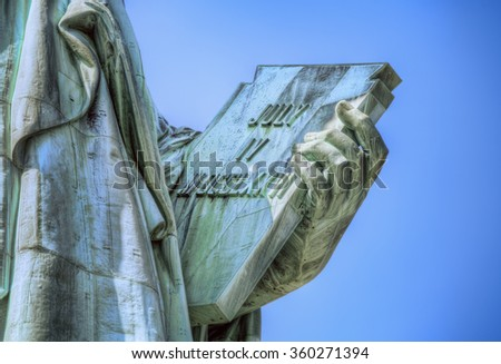 Detail from the Statue of Liberty, New York - stock photo