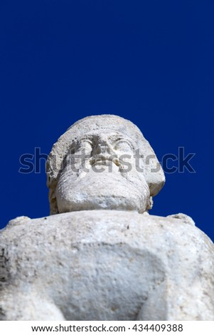 Detail from the stone sphinx monument in Bodrum Castle, Turkey - stock photo