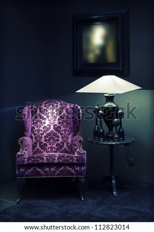 detail in classic interior with chair - stock photo