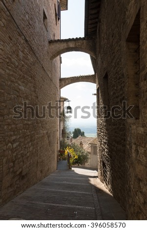 Detail in the medieval village of Assisi