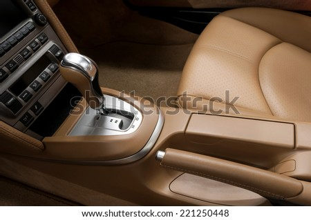 Detail interior of modern auto. Gear shift in car. - stock photo