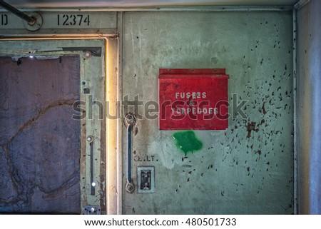 box fuse detail stock photos royalty images vectors detail interior wall of abandoned train car fuses and torpedoes box