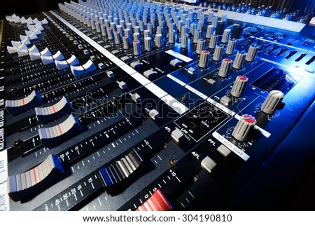 detail mixer in blue and white lights with a great perspective - stock photo