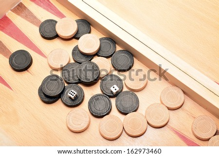 detail of a backgammon game board - stock photo