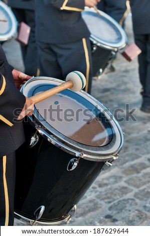 Detail of a Bass drum in a parade by the streets of a town in Spain - stock photo