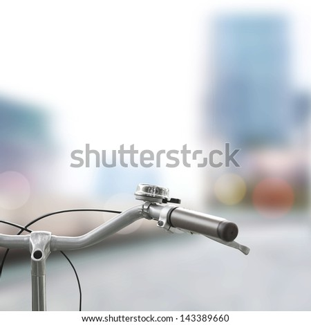 Detail of a Bicycle in City - stock photo