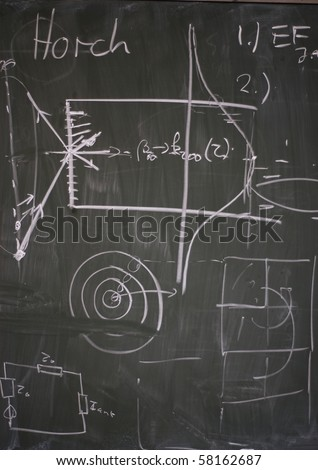 Detail of a blackboard showing university physics - stock photo