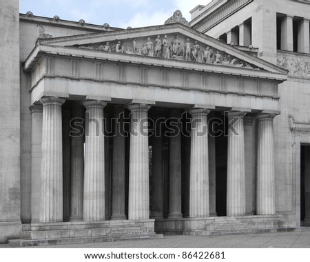 detail of a building named Propylaeum in Munich (Bavaria, Germany)