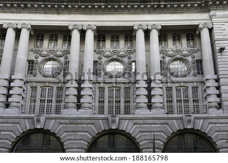 Detail of a building on Regent Street in central London, UK. - stock photo