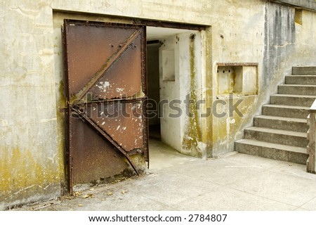 detail of a bunker in a historic military fort in Washington state. - stock photo