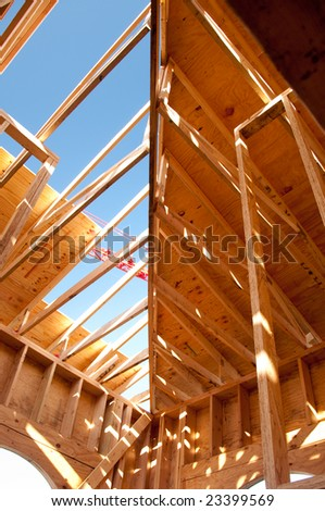 Detail of a business construction with blue sky on the background - stock photo
