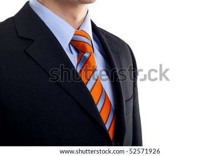 Detail of a Business man Suit with blue orange tie over white - stock photo