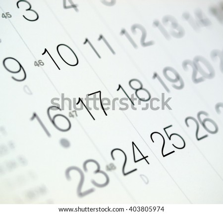 Detail of a calendar page with selective focus