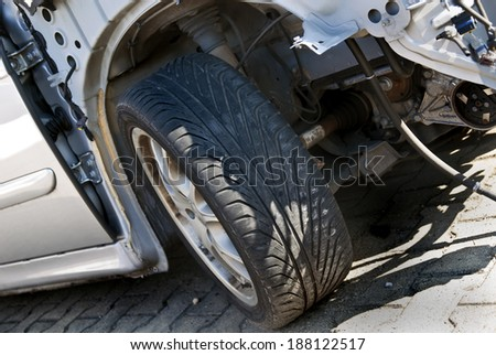Detail of a car accident